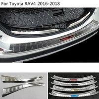 Car cover outside inside Rear back Bumper tailgate pedal Strip trim plate inner threshold For Toyota RAV4 2016 2017 2018