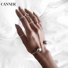 Canner 2019 Fashion Simple Design Silver Ring Thin Little Knuckle Midi Set For Women 6pcs/Set Jewelry Gift W4