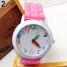 Fashion Unisex Student watch Silicone Strap Analog Quartz Wr