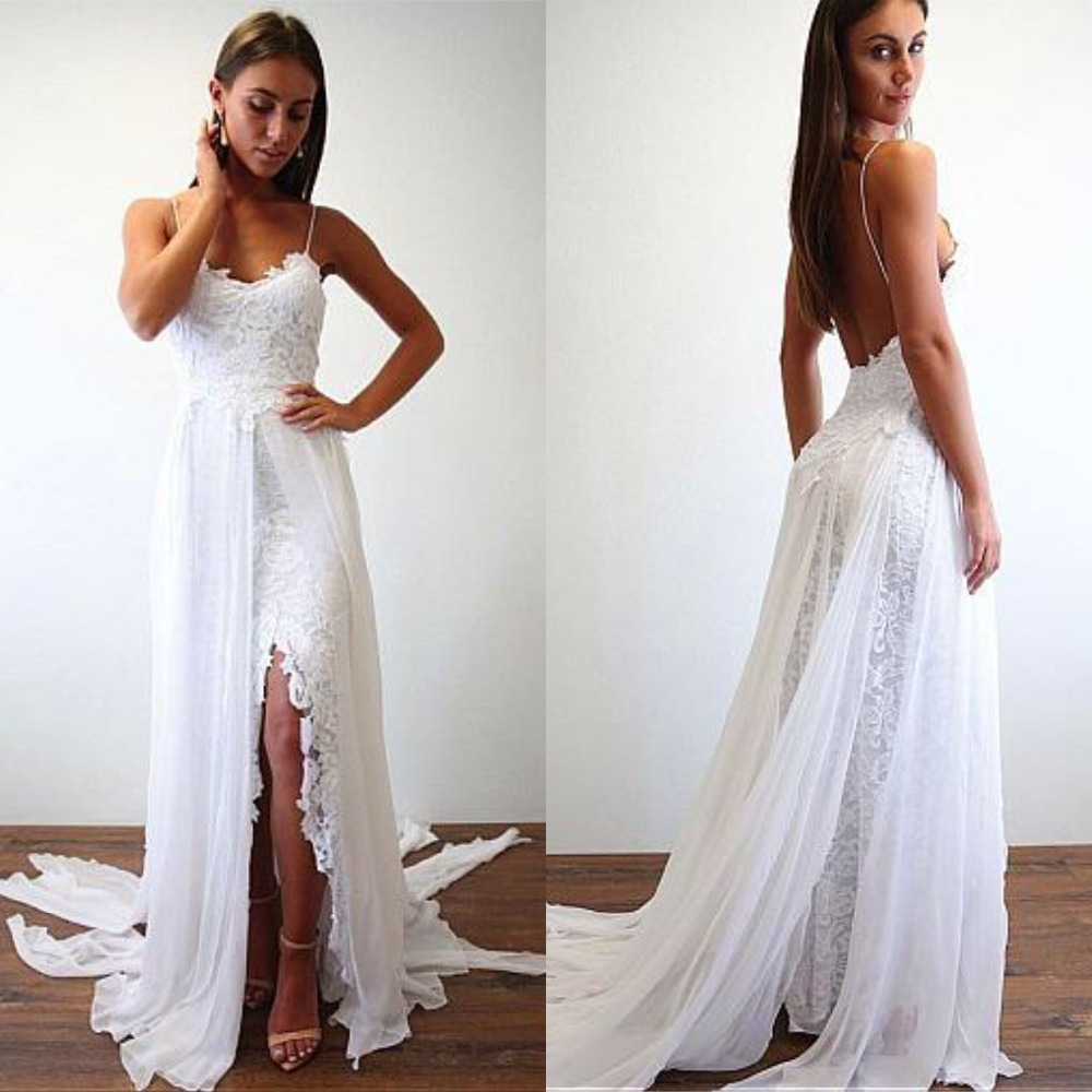 Chic Lace Chiffon Spaghetti Straps Neckline A-line Wedding Dresses Backless Chiffon Beach Wedding Gowns With Appliques