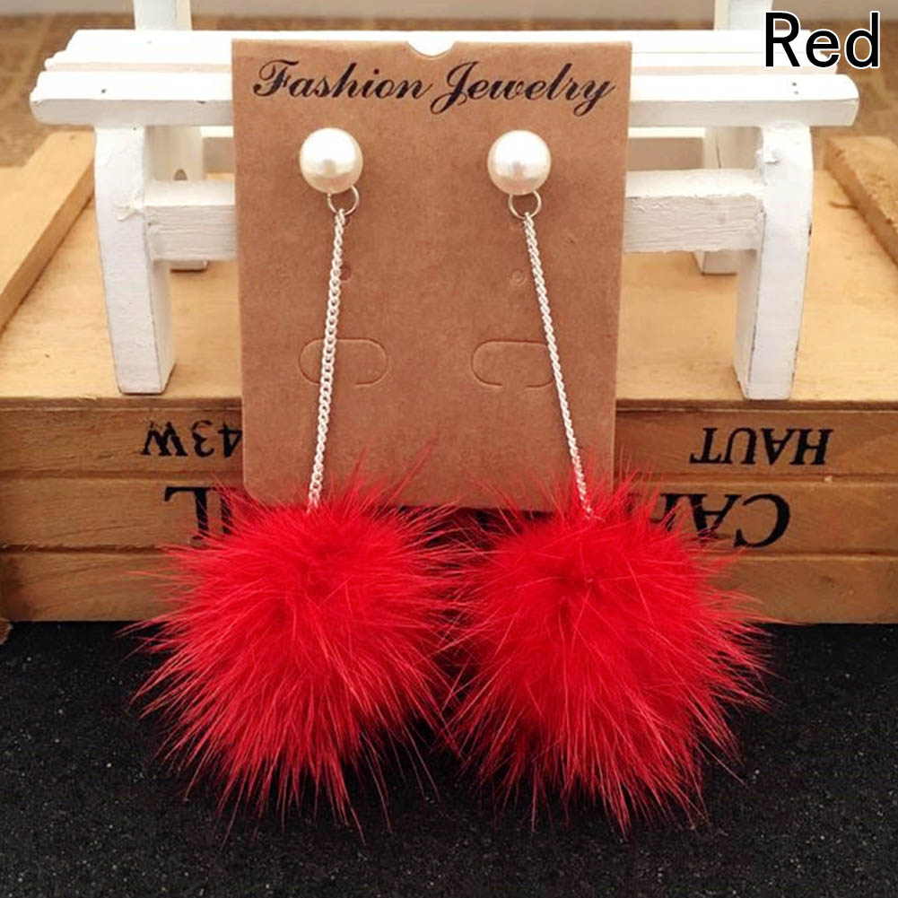 Jewelry Wholesale Fashion Mink Hair Earrings For Women Marten Anting Pom 3cm Ball Diameter Of About 3 Cm Total Length 8