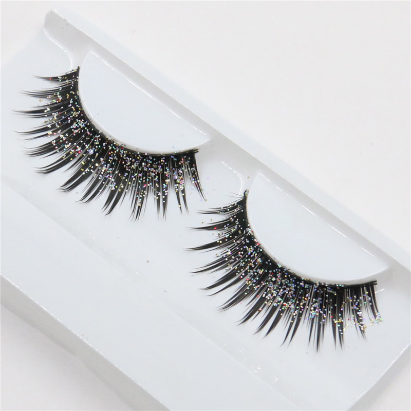 1pair Sequins False Eyelashes Cotton Thread Stems 3D Long Thick Silver Glitter Exaggerated Lashes Nightclub Stage Eye Makeup