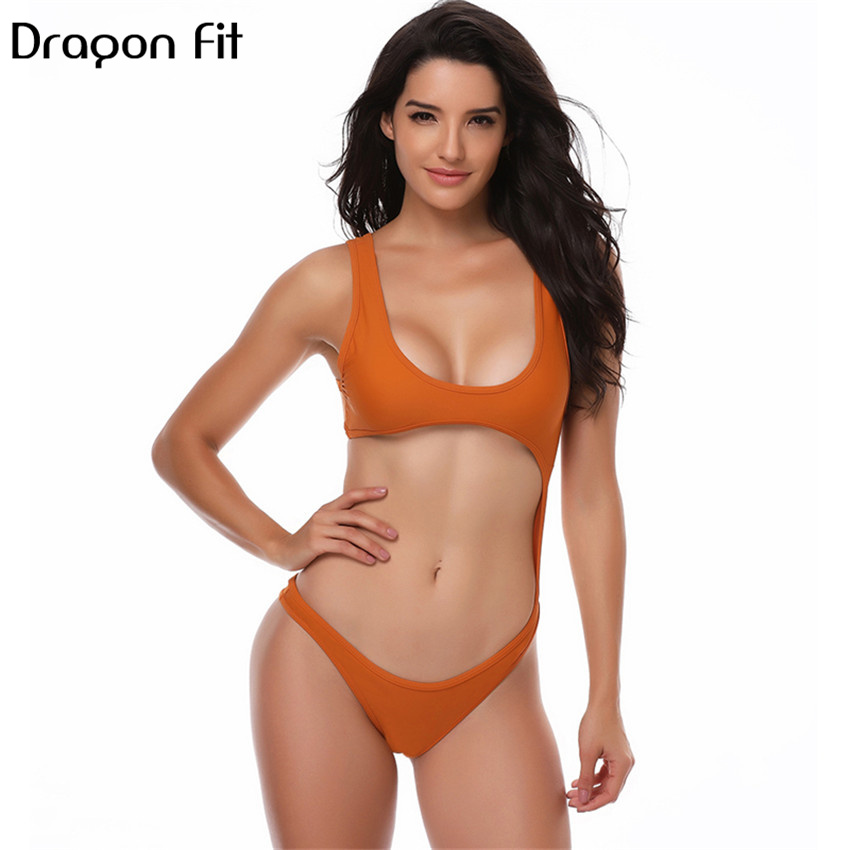 Dragon Fit Sexy Hollow Out Backless One Pieces Swim Suit Women Swim Bathing Diving Pure Color Swimwear Costumi Da Bagno Donna