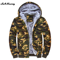 Plus Size 4XL One Color Warm Thick Solid Hoodies Camouflage Jackets Men Brand Tracksuit Sweatshirts New