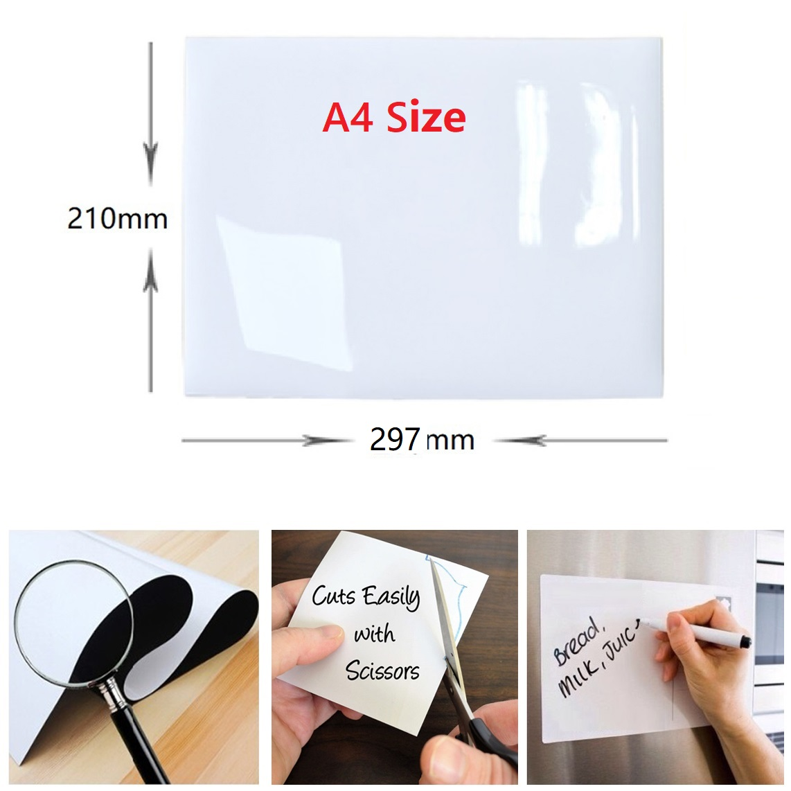 Image 2 - Magnet Whiteboard A4 Soft Magnetic Board Dry wipe Drawing Recording Board for Fridge Magnets Refrigerator Sticker Kitchen Decor-in Fridge Magnets from Home & Garden