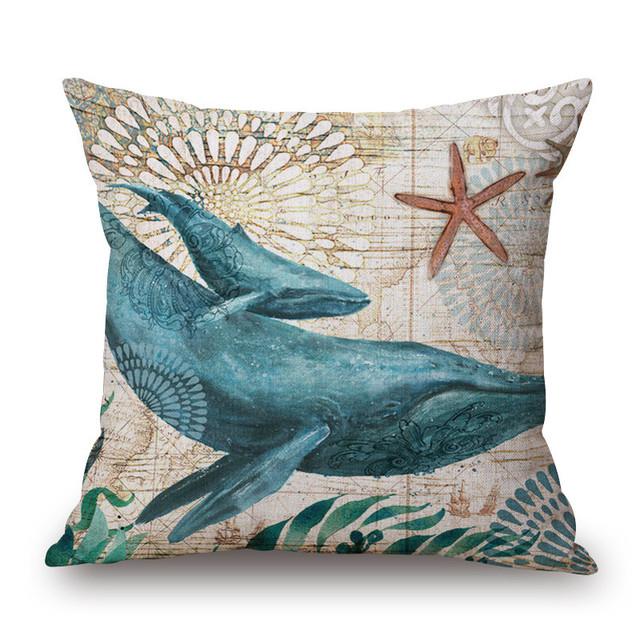 Retro Sea Animals Printed Cushion Cover