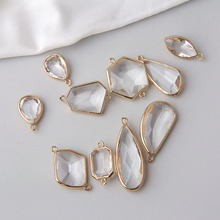 1pc DIY Alloy Edge Drops Irregular Polygon White Crystal Earrings Pendant Material For Wedding Bridal Bouquets Accessories