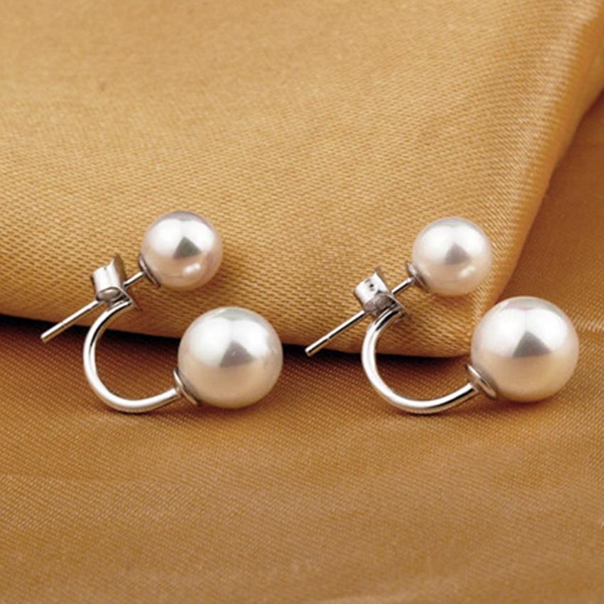 Női kettős utánzat gyöngy gömb fülbevalók divat ezüst - Divatékszer - Fénykép 2