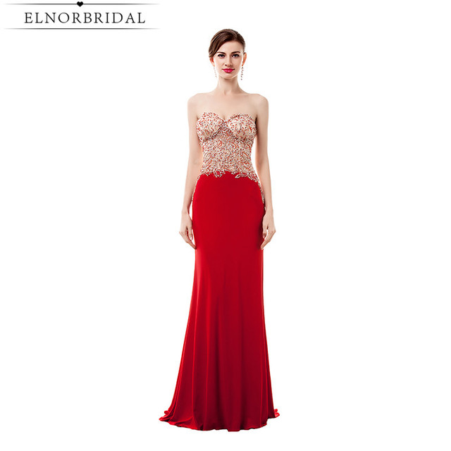 Vestido Formatura Red Beading Prom Dresses Long 2017 Mermaid Formal ...