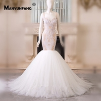 MANYUNFANG 100% Real Pictures Sweetheart Neck Vestido Noiva Spaghetti Straps Wedding Dress Mermaid Wedding Gown Trumpet
