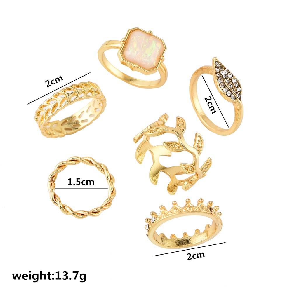 6pcs set New Fashion Bohemia Personality Leaf Crown Gold Rings Set for Women Rhinestone Metal Jewelry Finger Ring Accessories in Rings from Jewelry Accessories