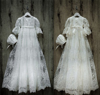 Vintage long sleeves white/ivory lace infant girl christening gown with bonnet custom any size