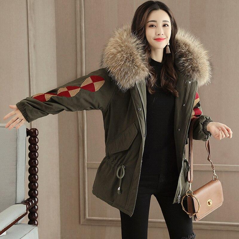 Épais Chaud Étudiants Pardessus Vêtements Blue Vers Capuchon Style Coréenne Color Femme 2018 And Le A348 Plus Broderie black À Army Manteau Green Bas Taille Vintage D'hiver Femelle qvXzwv0xH