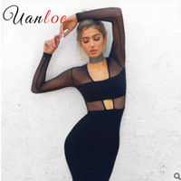 UANLOE 2017 Brand Women Party Dresses Black Robe Mesh V Neck Long Sleeve Cut Out Elastic