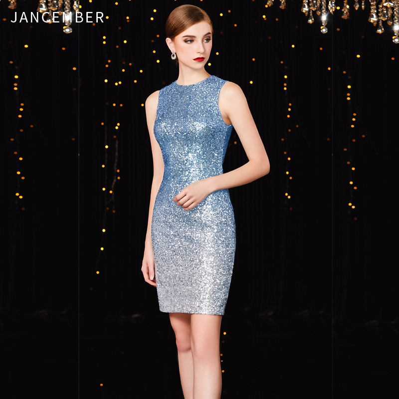 JANCEMBER Shinning Vestidos De Coctel High-Neck Straight Sleeveless Above Knee-Length Simple Sequin Robe De Cocktail Courte