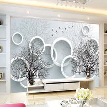 Customized mural wallpaper large 3D abstraction landscape with dream circle behind sofa TV as background in living room,bedroom