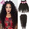 3 Bundles Brazilian Virgin Hair with Closure 8A Brazilian Deep wave with Closure Ali Moda Hair Mink Brazilian Hair weave Bundles