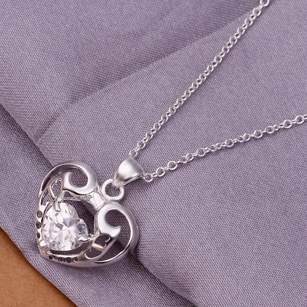2016 New Top Quality Silver Plated & Stamped 925 hollow sweet heart pendant with stone necklace for women jewerly wholesale