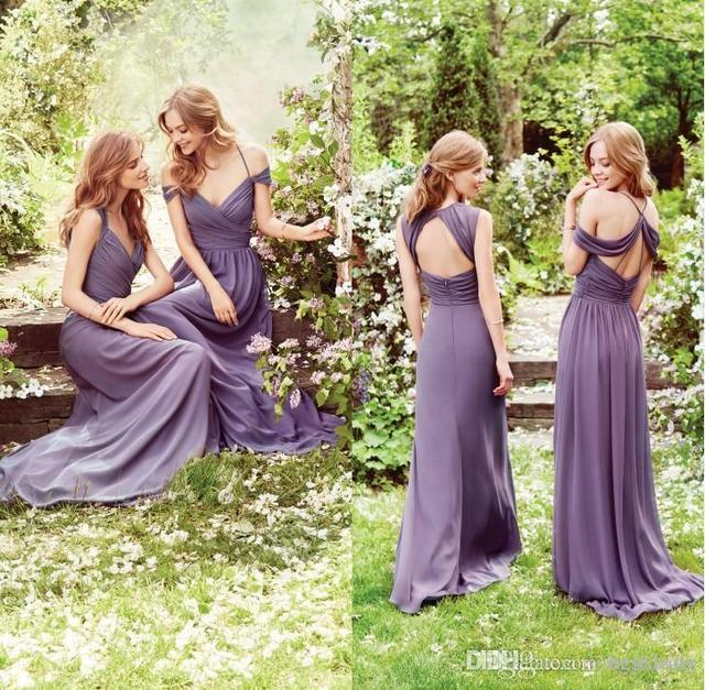 Off Shoulder Purple Pink Bridesmaid Dresses 2017 Pleated Chiffon A Line Maid Of Honor Gown Cheap