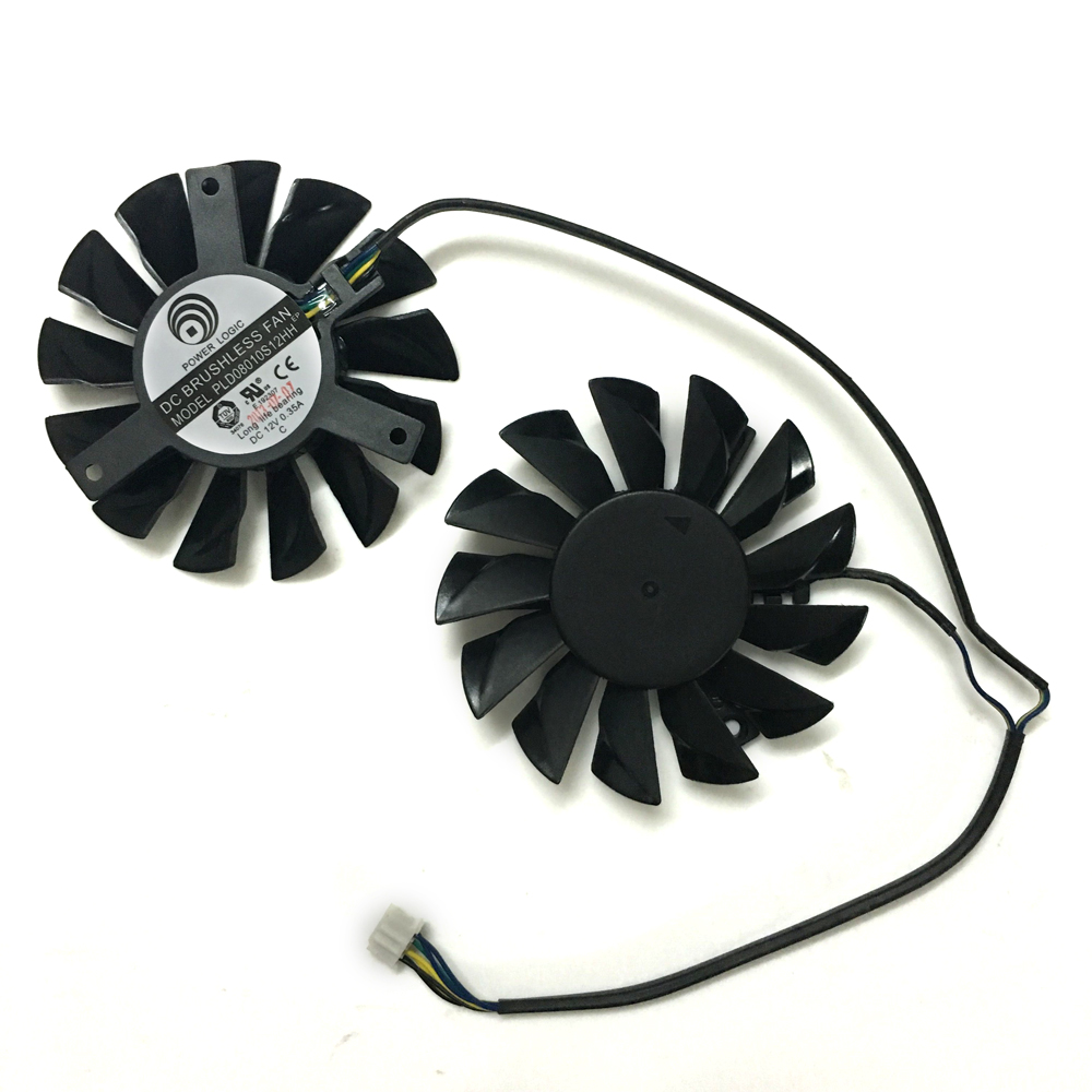 2pcs/lot PLD08010S12HH 75mm DC 12V 0.35A 4Pin Dual Cooler Fan as Replacement For MSI Twin Frozr III Graphics Video Card 75mm pld08010s12hh graphics video card cooling fan 12v 0 35a twin for frozr ii 2 msi r6790 n560gtx r6850 n460gtx dual cooler fan
