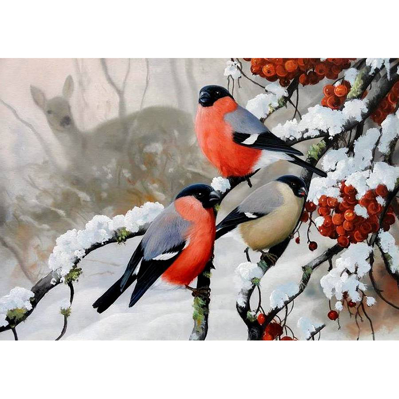 Diamond embroidery winter birds on snow 5d of the diamond painting mosaic the picture pastes diamond embroidery