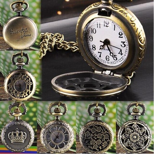 Hot Vintage Retro Bronze Quartz Pocket Watch Pendant Chain Men Women Watches Nec