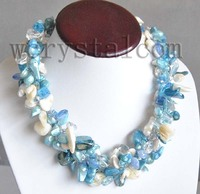 Barok Wit Aqua Blauw Parel Crystall Gevlochten Ketting