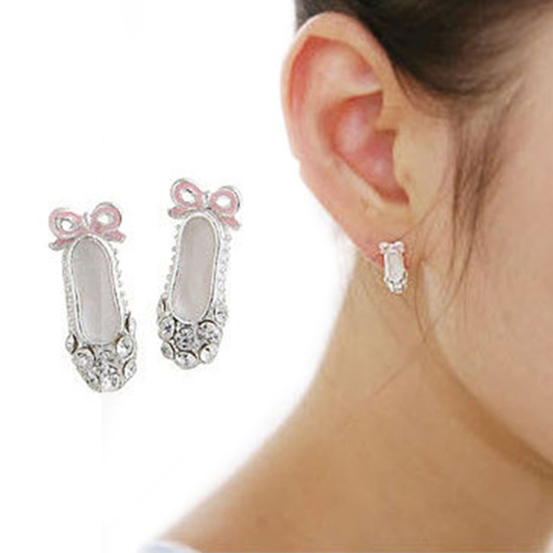 Sale 1 pairs Full Silver Plated Studs earrings Pink Bowknot Ear Studs wholesale