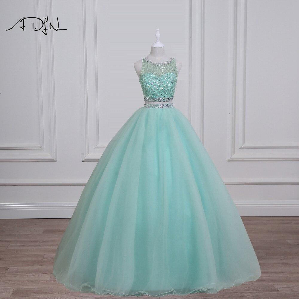 ADLN Réel Photo Menthe Vert Quinceanera Robes Magnifique Perlée Sequin Cristal Deux Pièces robe de bal Doux 16 Robe Débutante