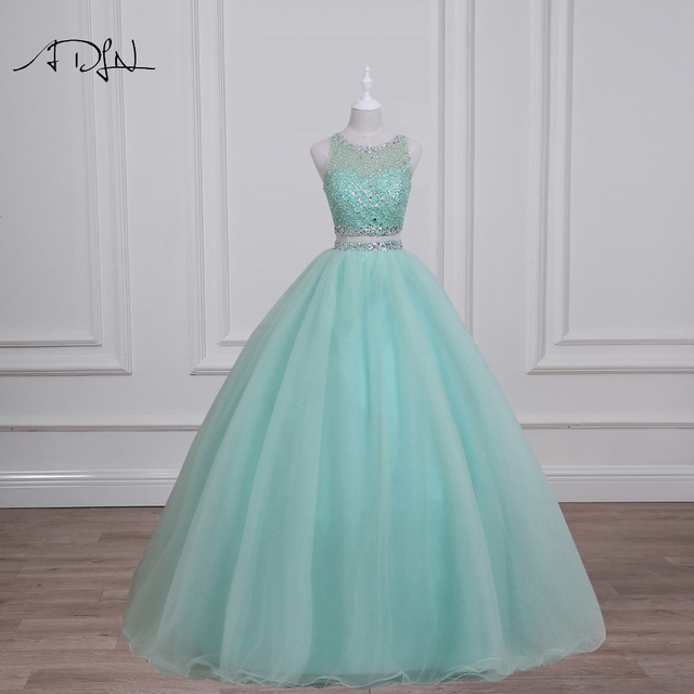 48045636e4 ADLN Real Photo Mint Green Quinceanera Dresses Gorgeous Beaded Sequin  Crystal Two Piece Prom Dress Sweet 16 Dress Debutante