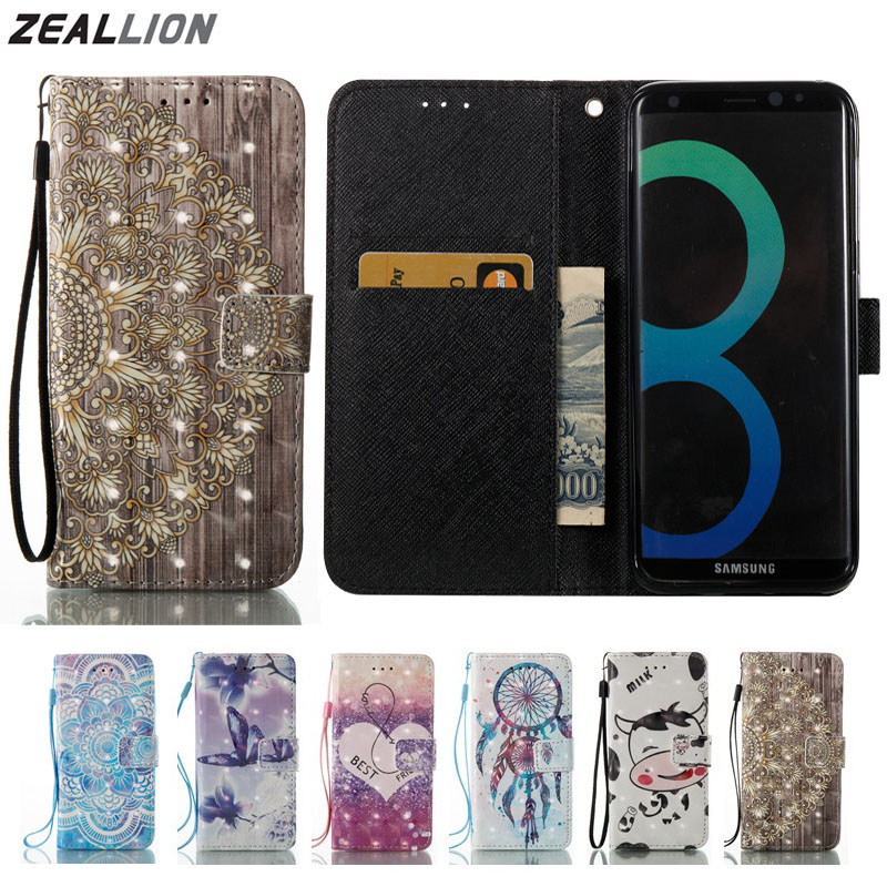 ZEALLION For Samsung Galaxy S5 S6 S7 S8 Edge Plus J3 J5 J7 A3 A5 2016 2017 Case Cartoon Wallet Holster Flip PU Leather Cover
