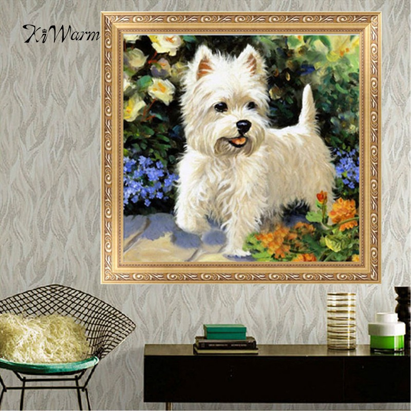 KiWarm Hot Sale White Puppy 5D DIY Diamond Painting Embroidery Cross Stitch Home Decor Handmade Needlework Crafts Gift for Kids