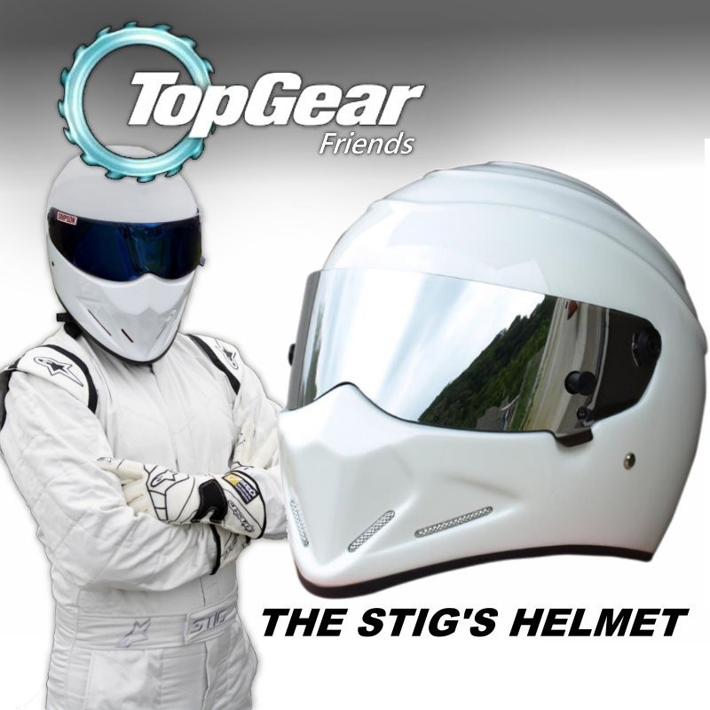 For TopGear The STIG White Helmet with Silver Visor From Top Gear / as SIMPSON Pig / Carting / Motocycle / Motobike / Racing 2