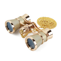 Exquisite Opera Binoculars 3X25 Metal Body Long Chain Optical Lens Telescope Fashion Elegant Accessory Women Girls