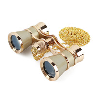 Exquisite Opera Binoculars 3X25 Metal Body Long Chain Optical Lens Telescope Fashion Elegant Accessory Women Girls