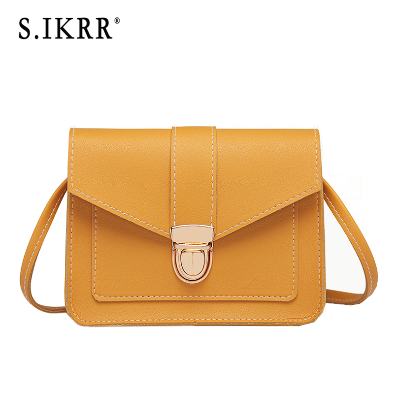 S.IKRR New Fashion Female Crossbody Bags Simple Lock Solid PU Leather Small Square Shoulder Bags Messenger Female Purse Bag