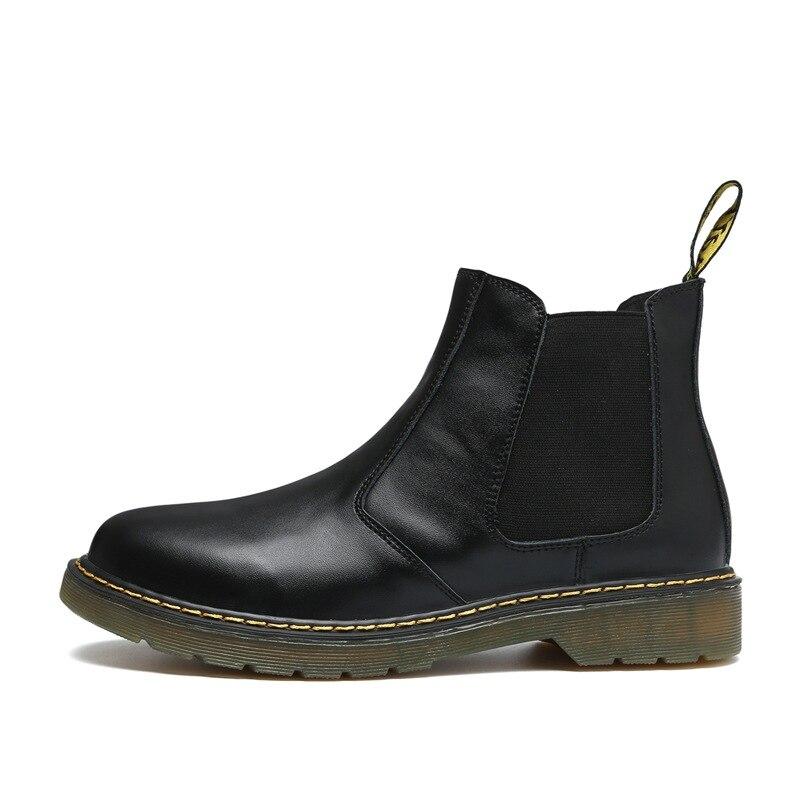 Ботильоны «Челси» в стиле ретро; мужские замшевые эластичные коричневые и черные брендовые ботинки Kanye; зимние осенние мужские ботинки; botas hombre; качественная обувь - Цвет: black
