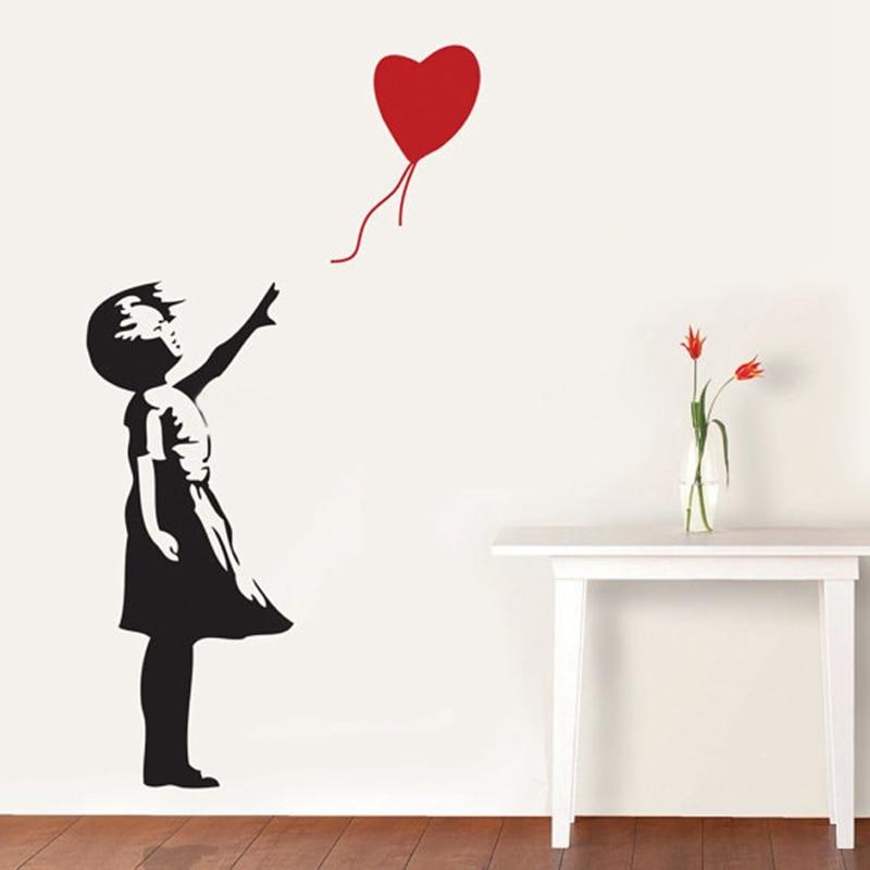 Banksy Wall Decal, Balloon Girl Inspired  - Banksy  Vinyl Wall Art Sticker ,free shipping A2064 1
