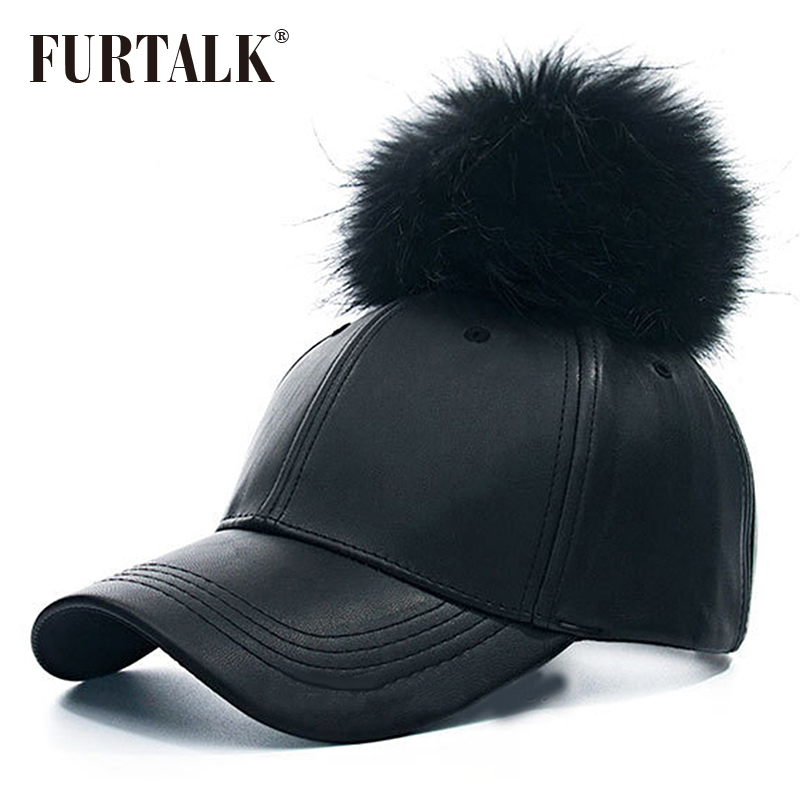 Big Real Raccoon Fur Hat Hip Hop Leather Baseball Cap Leather Snapback Fur Pom Pom Hat чехол для планшета it baggage ithwm2105 1 черный для huawei mediapad m2 10 0