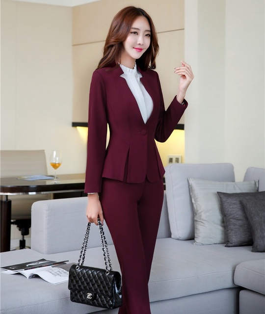 f76f8e358 US $49.78  Formal Wine Red Blazer Women Business Suits with Pant and Jacket  Sets Ladies Office Uniform Designs Styles-in Pant Suits from Women's ...