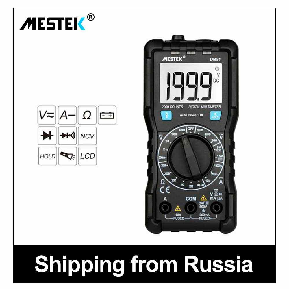 Mestek Digital Multimeter True-RMS 1999 Hitungan AC/DC Ammeter Voltmeter Ohm Amp Multimetro Penguji Multimeter Tegangan Multimeter DM91