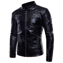 2019 Hot New Fashion Mens Leather Jacket Large Size Motorcycle Handsome Clothing