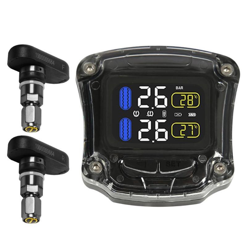Moto TPMS capteur de pression des pneus Automobile manomètre système de surveillance de la pression des pneus avec 2 capteurs internes