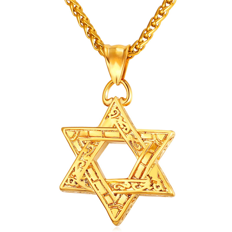 Kpop magan david star necklace women men gold rose gold for Star of david necklace mens jewelry