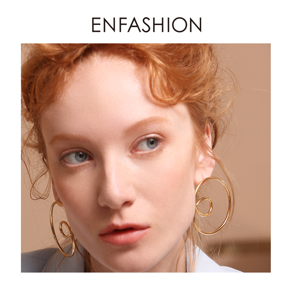 ENFASHION Wave Curve Drop Earrings For Women Gold Color Big Statement Accessories Loop Earings Fashion Jewelry Oorbellen EC1027Drop Earrings   -