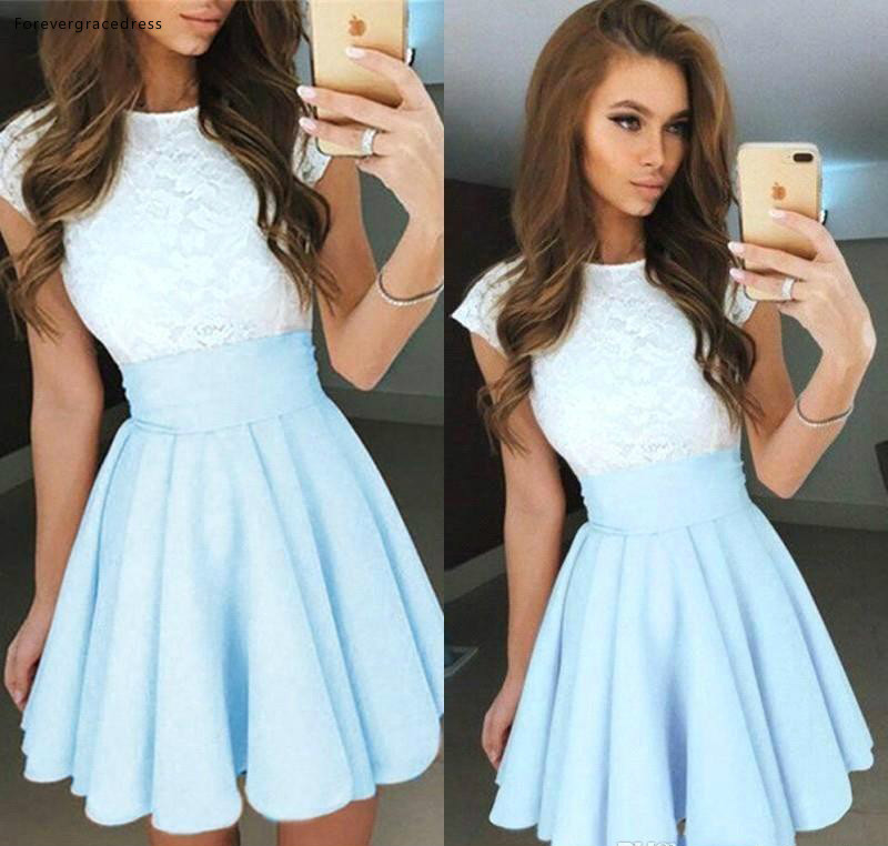 Light Sky Blue Lace   Cocktail     Dresses   2019 A Line Short Mini Graduation Formal Club Wear Homecoming Prom Party Gowns Plus Size