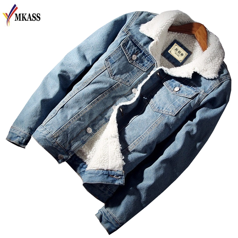 MKASS Men Jacket and Coat Trendy Warm Fleece Denim Jacket 2018 Winter Fashion Mens Jean Jacket Outwear Male Cowboy Plus Size 6XL(China)