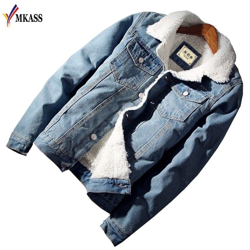 MKASS Männer Jacke und Mantel Trendy Warme Fleece Denim Jacke 2018 Winter Mode Herren Jean Jacke Outwear Männlichen Cowboy Plus größe 6XL