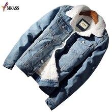 MKASS Men Jacket and Coat Trendy Warm Fleece Denim