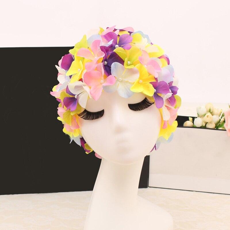 Multi barvy plavat čepice ženy 3D okvětní lístky plavání čepice Fashional dlouhé vlasy chrániče uší velké